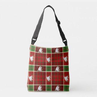 Red Tartan Bulldog Crossbody Bag