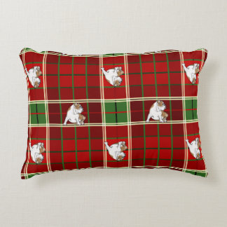 Red Tartan Bulldog Decorative Pillow