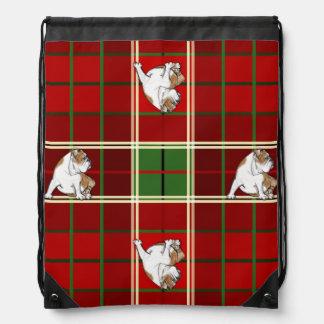 Red Tartan Bulldog Drawstring Bag