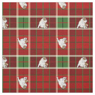 Red Tartan Bulldog Fabric