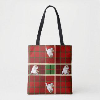 Red Tartan Bulldog Tote Bag