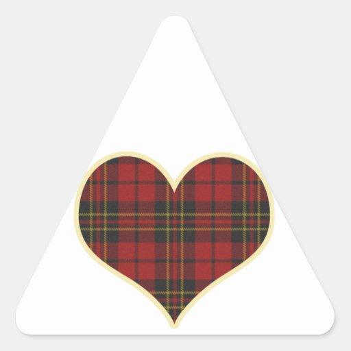 Red Tartan Heart Triangle Stickers