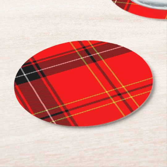 Red Tartan Pattern Round Paper Coaster