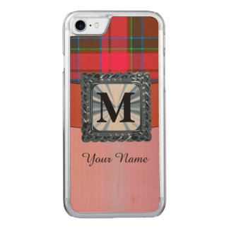 Red tartan plaid monogram carved iPhone 7 case