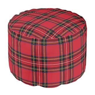 Red Tartan Plaid Sturdy Spun Polyester Round Pouf