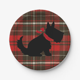 Red Tartan Scotty Dog Cute Traditional Paper Plate