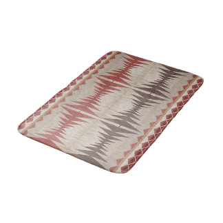 Red Taupe Beige Dark Brown Eclectic Ethnic Look Bath Mat