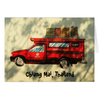 Red Taxi In Chiang Mai Card