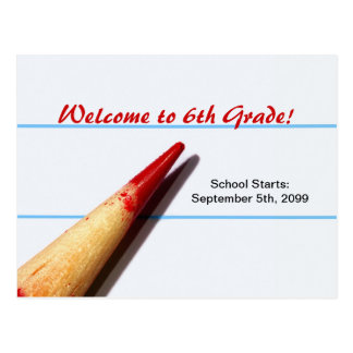 Red Teacher Pencil On Lined Paper Back To School Postcard