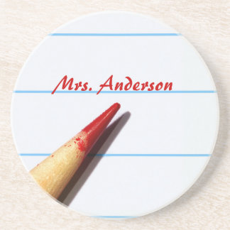 Red Teacher Pencil On Lined Paper With Name Drink Coaster