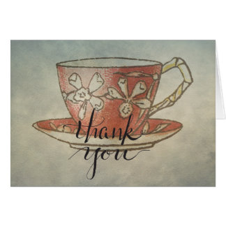 Red Teacup Thank You Calligraphy Notecard