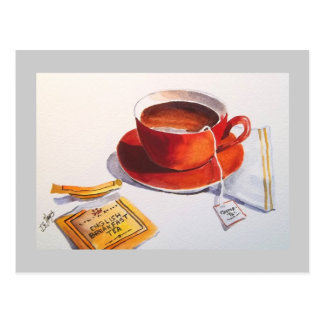 Red Teacup with Teabag Postcard