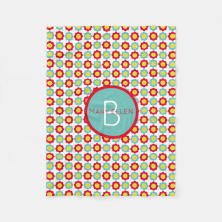 Red Teal and Yellow Flowers on White Monogram Fleece Blanket