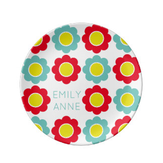 Red Teal and Yellow Flowers on White Personalized Plate