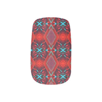 Red Teal Aqua Funky Pattern Nail Art Wraps Decals