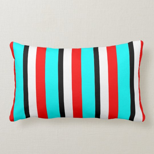 Red Teal Black White Stripe Lumbar Pillow