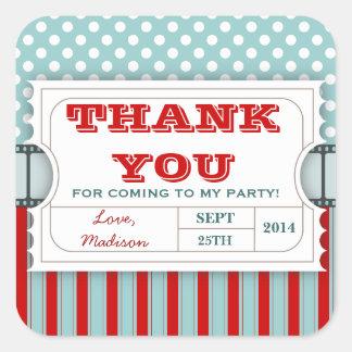 Red | Teal Movie Ticket Birthday Thank You Sticker