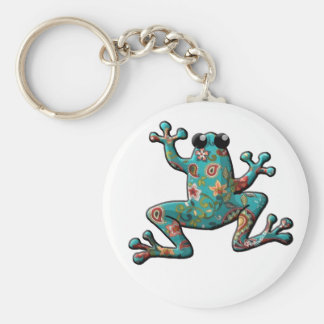 Red Teal Paisley Frog Basic Round Button Keychain