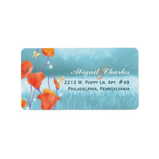 Red Teal Poppy Wedding Address Label