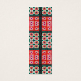 Red Teal Tile Bookmarks Mini Business Card