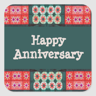 Red Teal Tile Pattern Happy Anniversary Square Sticker