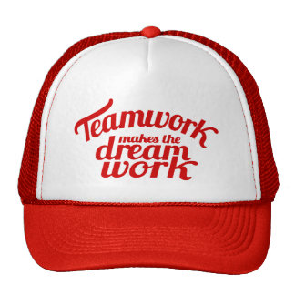 Red teamwork makes the dream work graphic hat