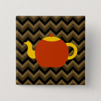 Red Teapot on Brown Zigzags. 2 Inch Square Button
