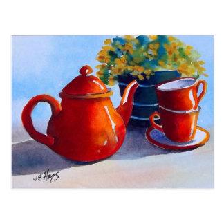 Red Teapot & Teacups Postcard