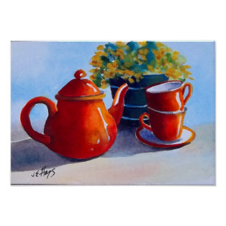 Red Teapot & Teacups Poster