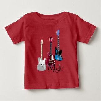 "Red tee-shirt baby ""Guitars and Music "" Baby T-Shirt"