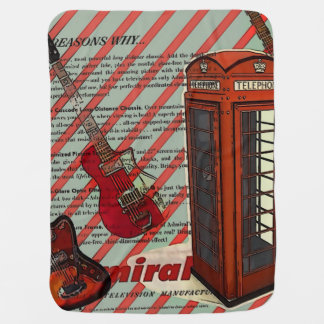 Red Telephone Band Rock n Roll Electric Guitar Baby Blanket
