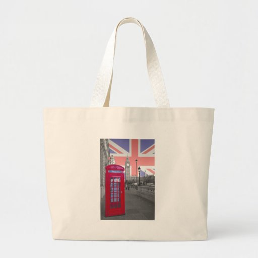 Red Telephone Big Ben Tote Bags