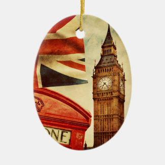 Red telephone booth and Big Ben in London, England Ceramic Ornament