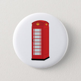 Red Telephone Box 2 Inch Round Button