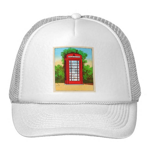 Red Telephone Box UK Vintage Kitsch Mesh Hats