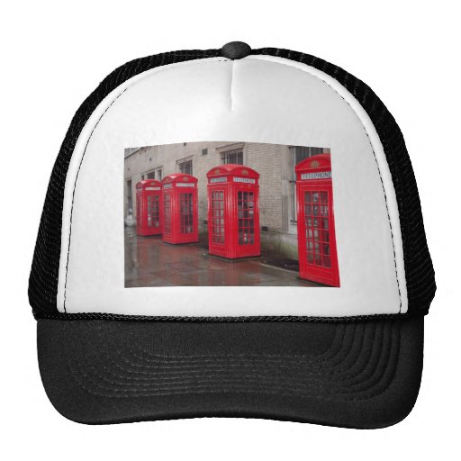 red telephone boxes mesh hats
