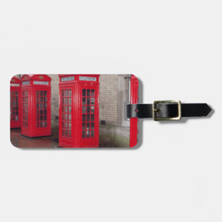 red telephone boxes luggage tag