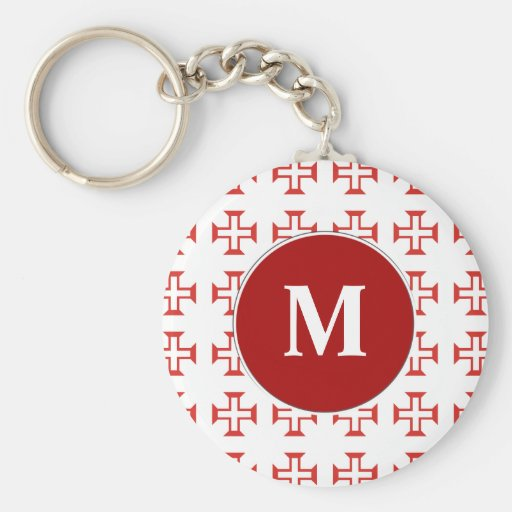Red Templar Cross pattern Keychains