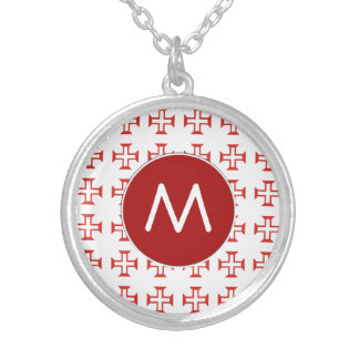 Red Templar Cross pattern Silver Plated Necklace