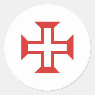 Red Templar Cross Round Stickers
