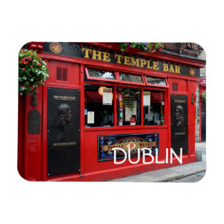 Red Temple Bar pub in Dublin rectangular magnet