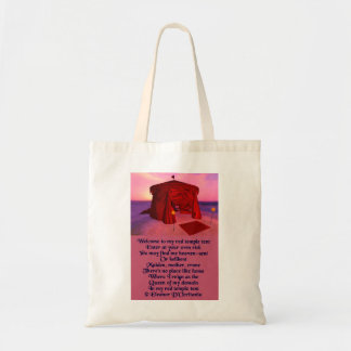 Red Temple Tent Poetry Budget Tote Bag