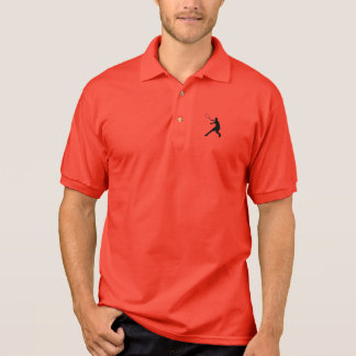 Red tennis polo