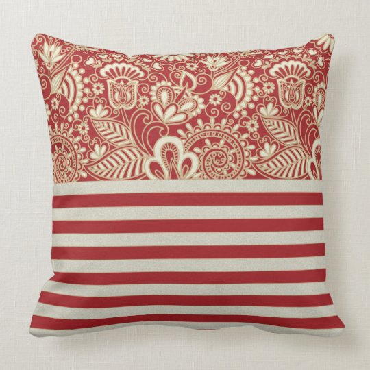 red terracotta beige strips pattern Throw Pillow