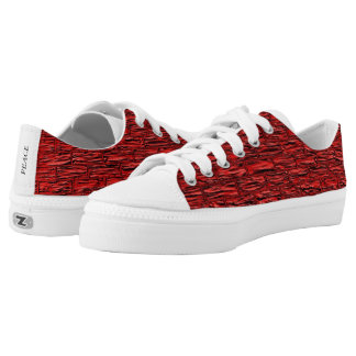 Red Texture Brick Pattern Low Top Canvas Shoes