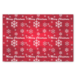 Red Textured Merry Christmas with Snowflakes Tissue Paper