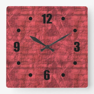 Red Textured Square Wall Clock