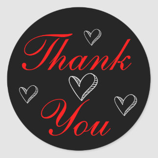 Red Thank You Black And White Hearts Wedding Love Round Sticker