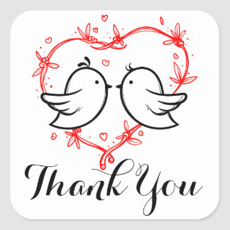 Red Thank You Black Lovebirds Heart Wedding Party Square Sticker