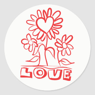 Red Thank You Flowers & Hearts Love Wedding Classic Round Sticker